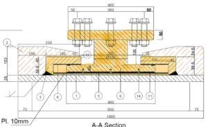 bearing-detail-PTFE-EPDM-Plate-statical-space-truss-node-countersank-bolt